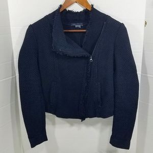 Vince Cotton Tweed Navy Blue Assymetrical Zipper
